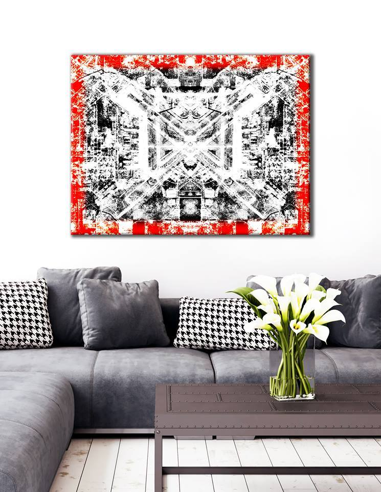 Abstract Wall Art: Red border modern (Wood Frame Ready To Hang)