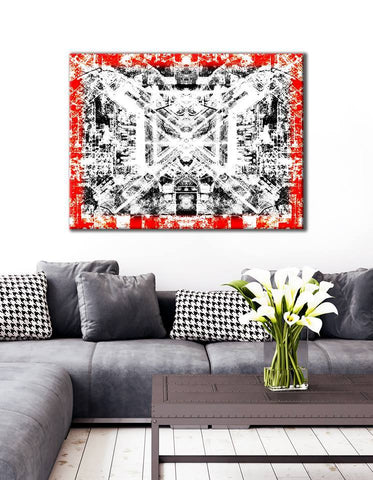 Abstract Home Decor Wall Art: Red border modern (Wood Frame Ready To Hang)