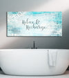 Bathroom Wall Art: Relax & Recharge (Wood Frame Ready To Hang)