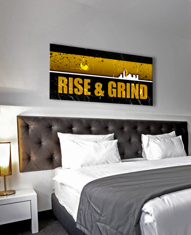 Inspire Wall Art: Rise And Grind V2 (Wood Frame Ready To Hang)