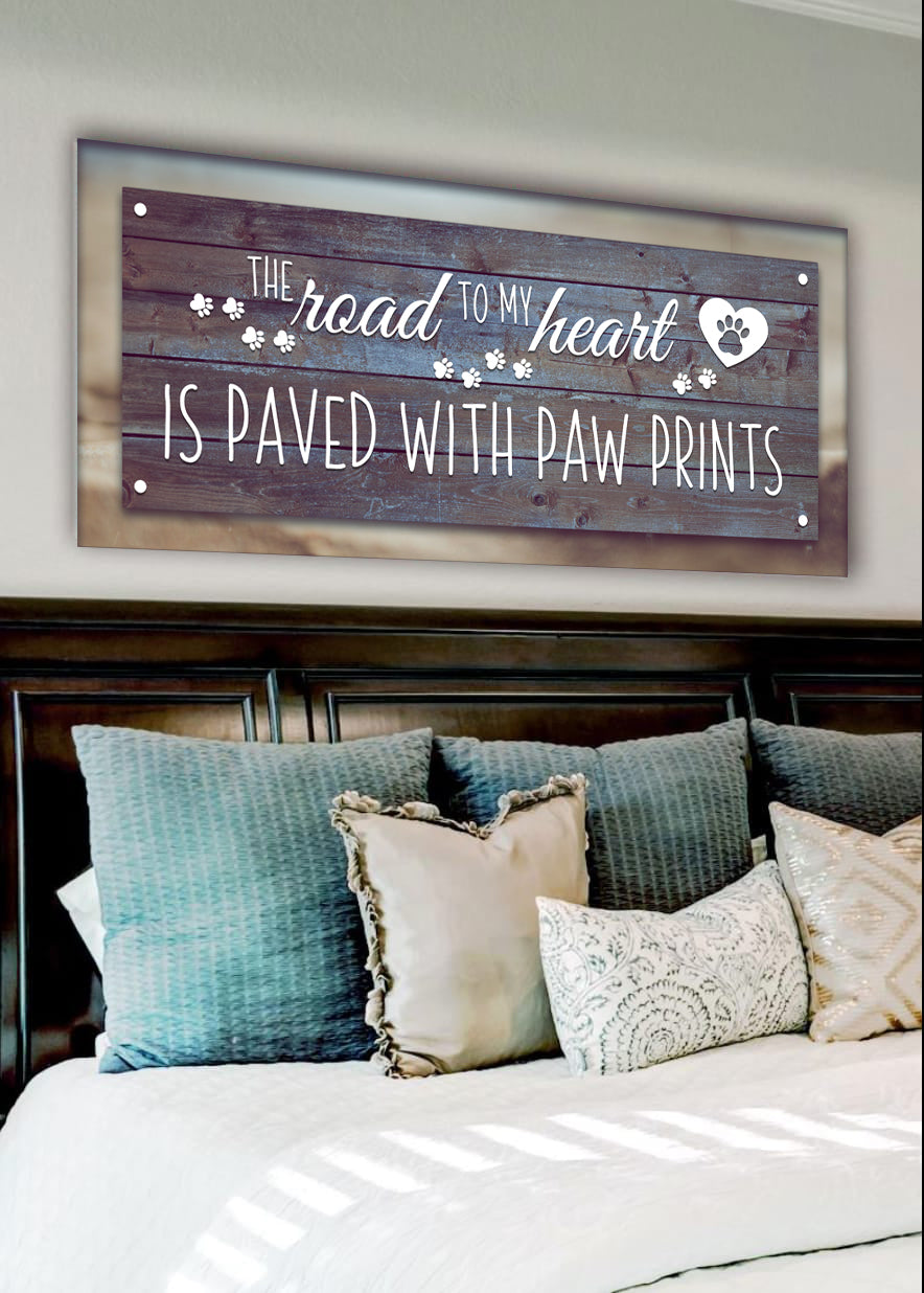 Pet Wall Art: Road To My Heart Paved With Paw Print (Wood Frame Ready To Hang)