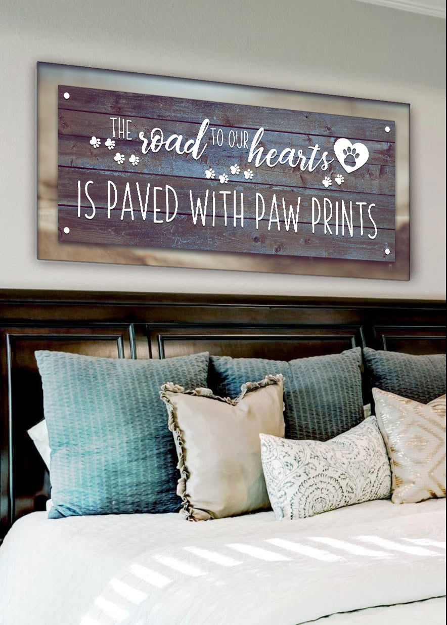 Pet Wall Art: Road To Our Heart Paved With Paw Print (Wood Frame Ready To Hang)