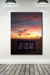 Home Wall Art: Let The Sea Set You Free Wall Art (Wood Frame Ready To Hang)
