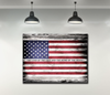 Business Wall Art:  American Land Of The Free Flag Canvas (Wood Frame Ready To Hang)