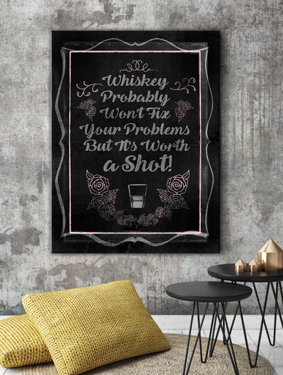 Home Wall Art: Whiskey Chalk Board Canvas Art Pink