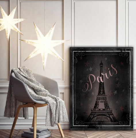 Home Decor Wall Art: Beautiful Eiffel Tower Paris Canvas Wall Art Piece (Wood Frame Ready To Hang)