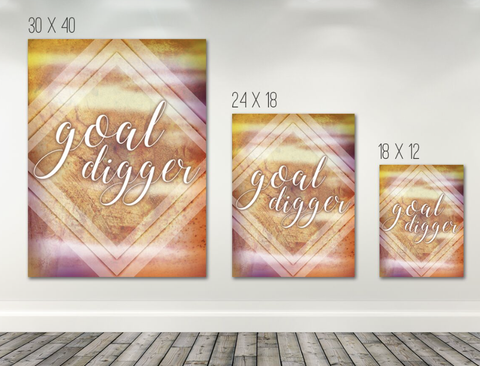 Home Decor Wall Art: Goal Digger Wall Art Canvas (Wood Frame Ready To Hang)