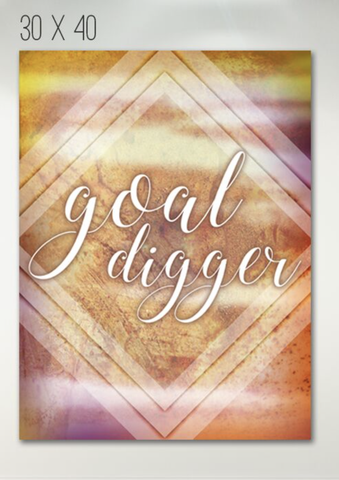 Home Wall Art: Goal Digger Wall Art Canvas (Wood Frame Ready To Hang)