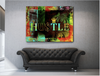 Business Wall Art: Hustle Benjamin Limited Edition Green (Wood Frame Ready To Hang)