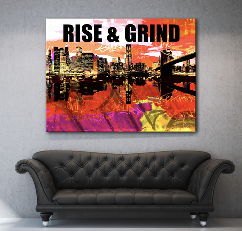 Business Wall Art: Rise And Grind Canvas (Limited Edition) (Wood Frame Ready To Hang)