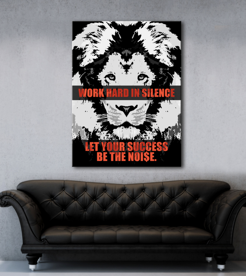 Business Wall Art: Silence Success Lion Canvas (Wood Frame Ready To Hang)