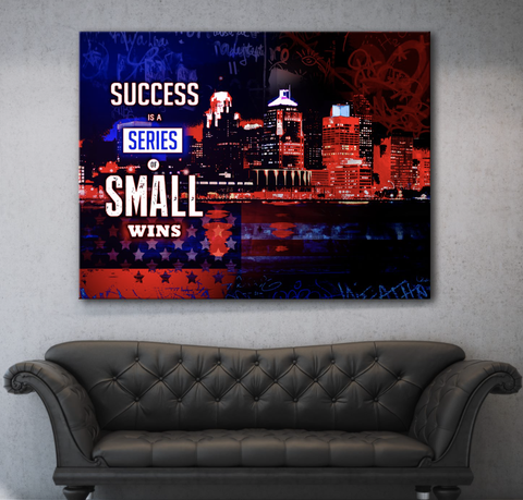 Business Wall Art:  American Success Is A Series Of Small Wins (Wood Frame Ready To Hang)
