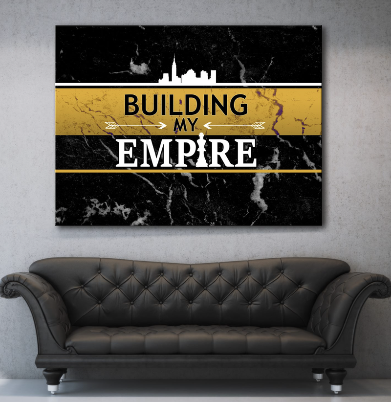 Business Wall Art: Building An Empire Canvas (Wood Frame Ready To Hang)
