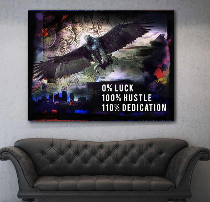 Business Wall Art: 100% Hustle And Dedication Canvas (Wood Frame Ready To Hang)