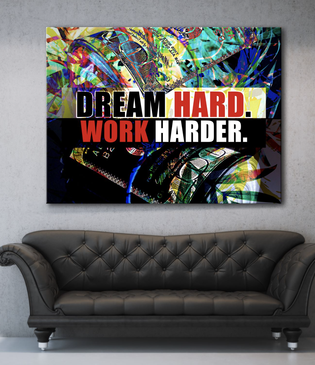 Business Wall Art: Work Harder Canvas (Wood Frame Ready To Hang)