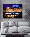 Home Wall Art: We Stand For Israel Canvas (Wood Frame Ready To Hang)