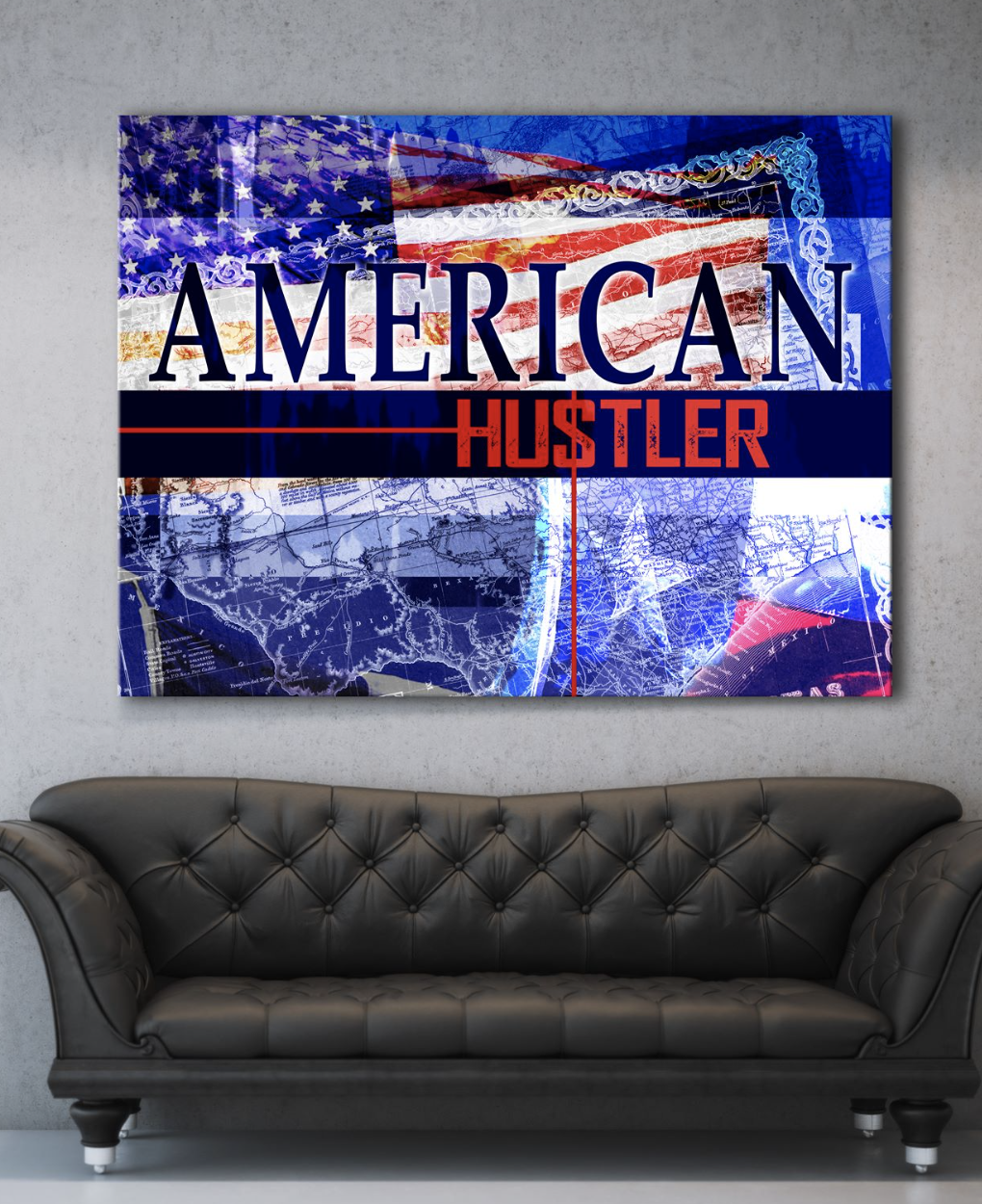 Business Wall Art:  American Hustler Flag (Wood Frame Ready To Hang)