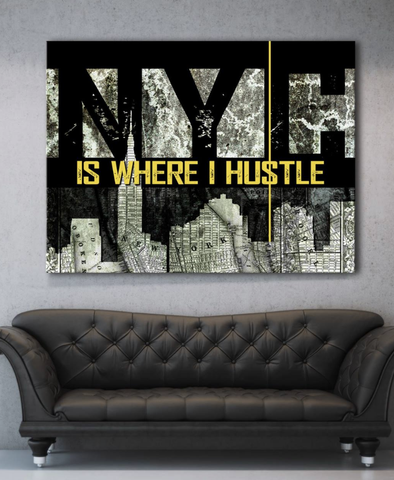 Business Wall Art: NYC Hustler Canvas Art (Wood Frame Ready To Hang)