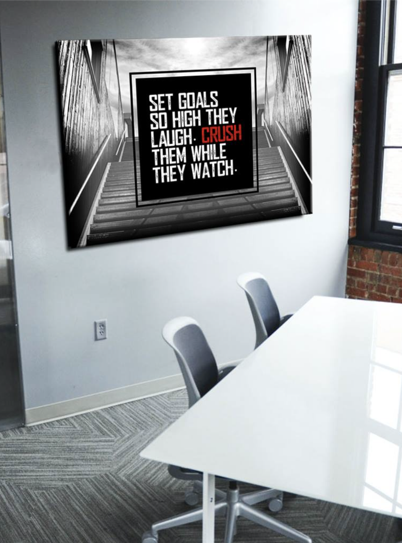 Business Wall Art: Set Goals And Crush Them (Wood Frame Ready To Hang)
