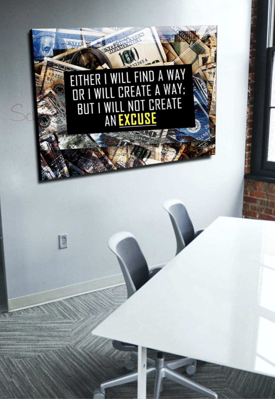 Business Wall Art: NO EXCUSES Canvas (Wood Frame Ready To Hang)