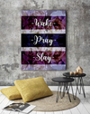 Home Wall Art: Wake Pray Slay Canvas (Wood Frame Ready To Hang)