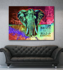 Home Decor Wall Art: Bold Fearless Elephant (Wood Frame Ready To Hang)