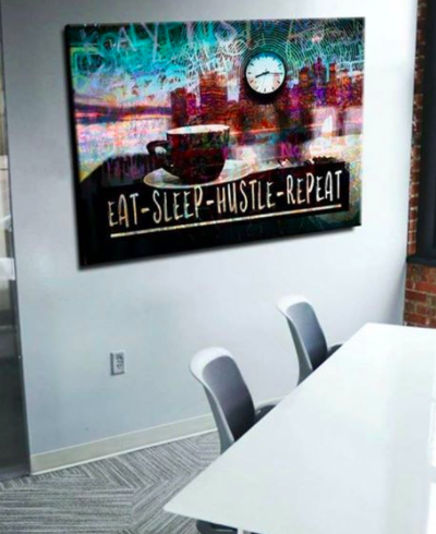 Business Wall Art: Eat Sleep Hustle Repeat (Wood Frame Ready To Hang)