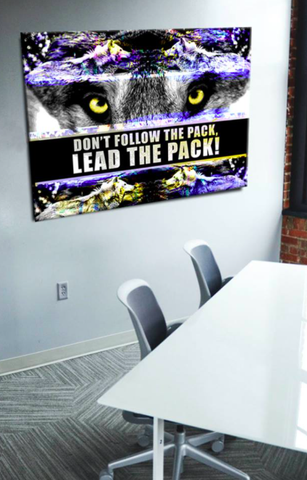 Business Wall Art: Don't Follow The Pack (Wood Frame Ready To Hang)