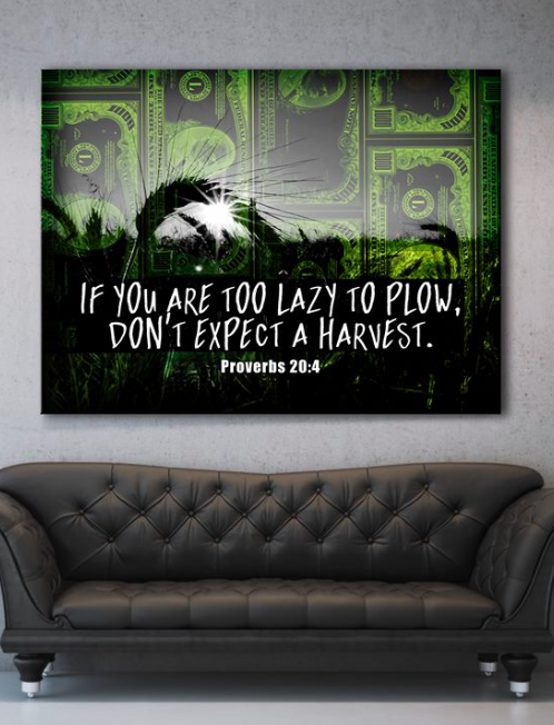 Business Wall Art: Expect A Harvest (Wood Frame Ready To Hang)