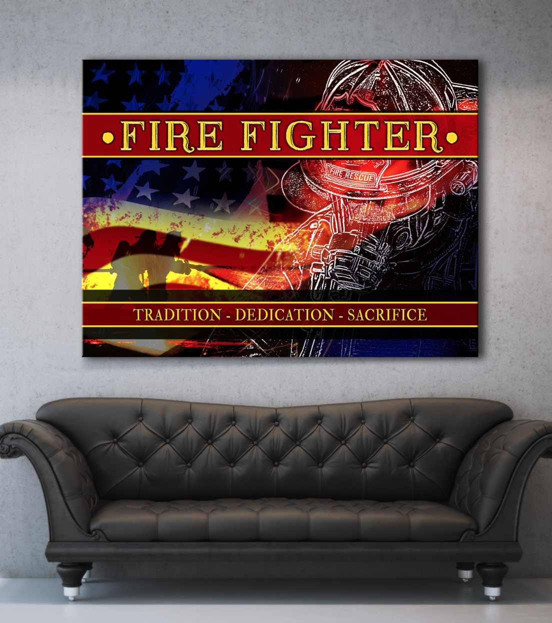 Firefighter Wall Art: Firefighter Dedication (Wood Frame Ready To Hang)