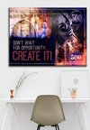 Business Wall Art: Don't Wait For Opportunity Create It (Woman) (Wood Frame Ready To Hang)