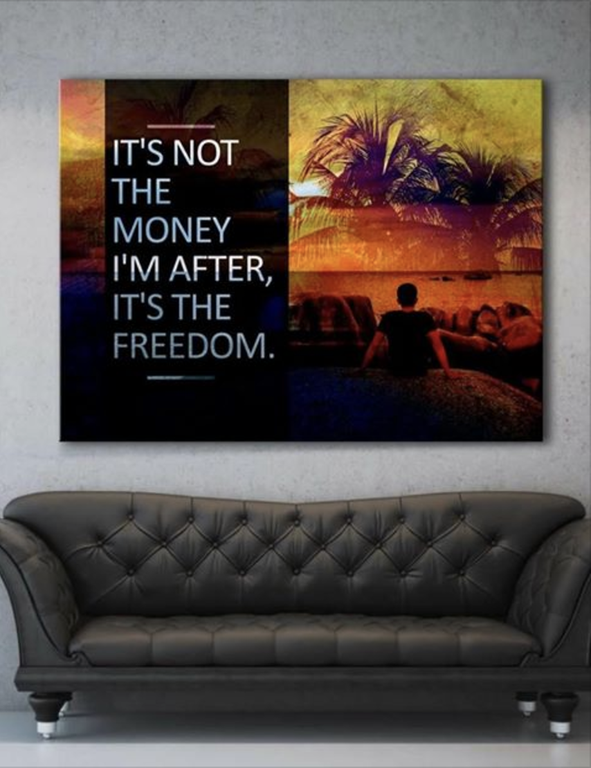 Business Wall Art: Doing It For The Freedom (Wood Frame Ready To Hang)