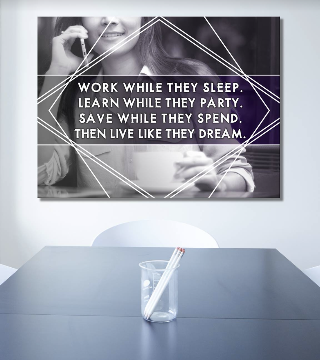 Business Wall Art: Woman Live Like They Dream (Wood Frame Ready To Hang)
