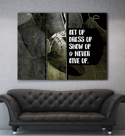 Business Wall Art: Get Up Never Give Up (Wood Frame Ready To Hang)