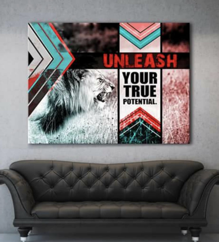 Business Wall Art: Unleash Your Potentialf (Wood Frame Ready To Hang)