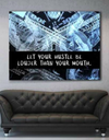 Business Wall Art: Let Your Hustle Be Louder Than Your Mouth (Wood Frame Ready To Hang)