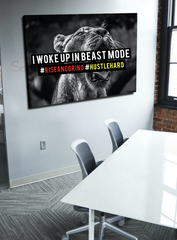 Business Wall Art: Beast Mode Lion (Wood Frame Ready To Hang)