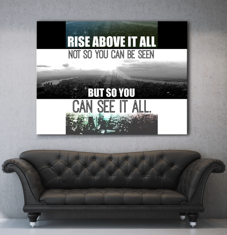 Business Wall Art: Rise Above It All (Wood Frame Ready To Hang)