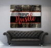 Business Wall Art: Good Things Come To Those Who Hustle RED (Wood Frame Ready To Hang)