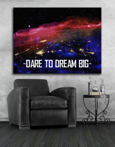 Home Decor Wall Art: Dare To Dream Big (Wood Frame Ready To Hang)