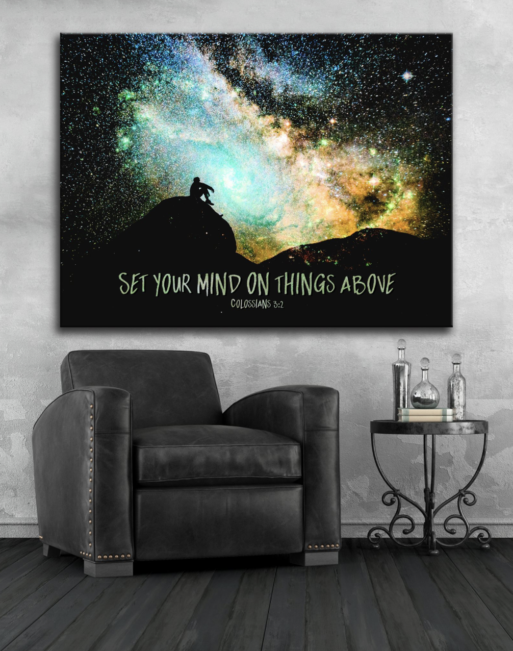 Home Wall Art: Set Your Mind On Things Above (Wood Frame Ready To Hang)