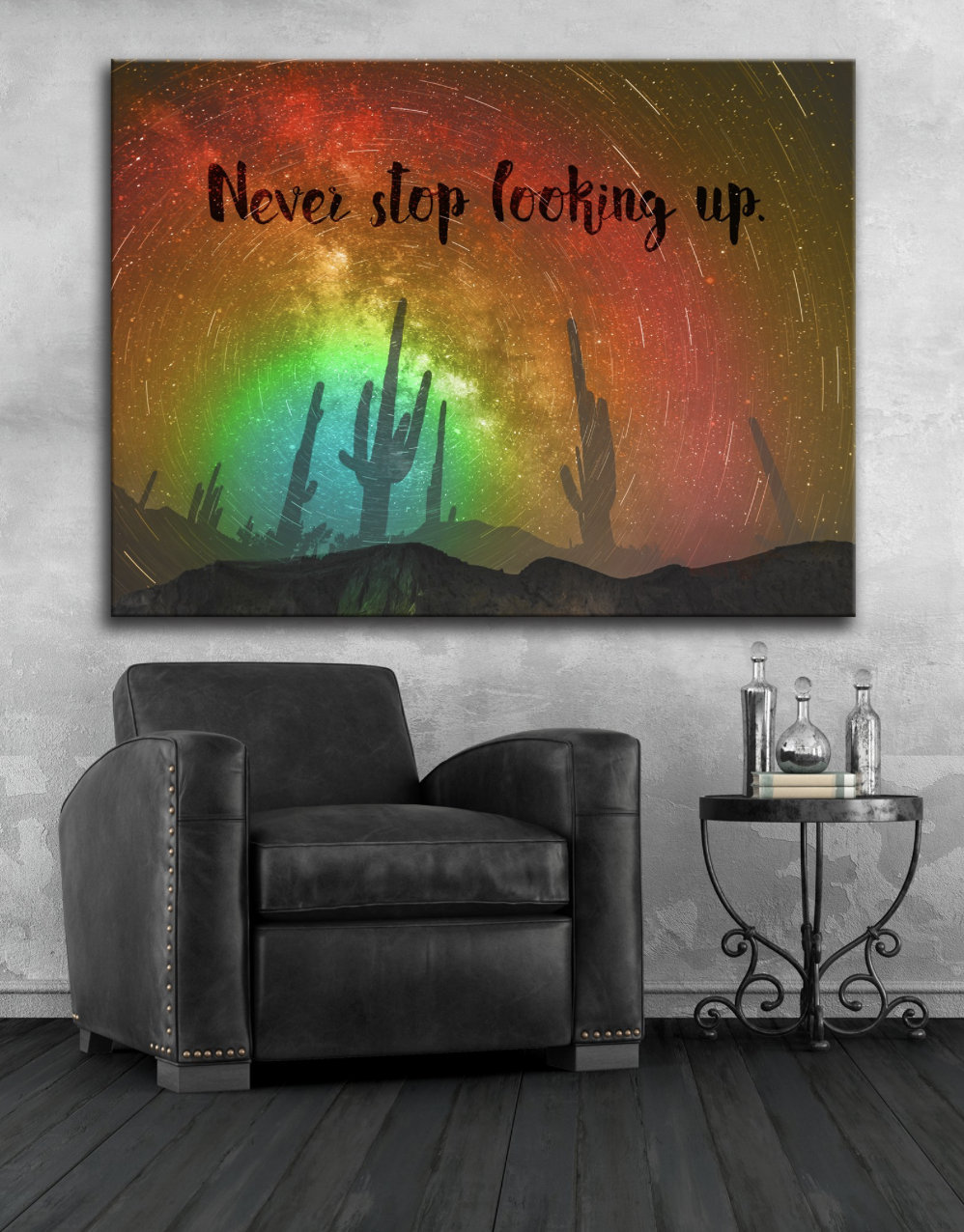 Home Wall Art: Never Stop Looking Up (Wood Frame Ready To Hang)