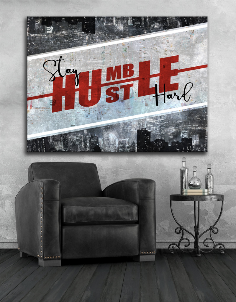 Business Wall Art: Humble Hustle Stunning Canvas (Wood Frame Ready To Hang)