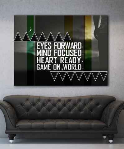 Business Wall Art: Game On World Canvas (Wood Frame Ready To Hang)