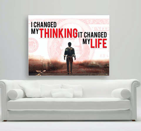 Business Wall Art: Change Thinking Stunning Canvas (Wood Frame Ready To Hang)