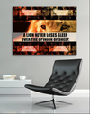 Business Wall Art: Lion Never Lose Sleep Wall Art (Wood Frame Ready To Hang)