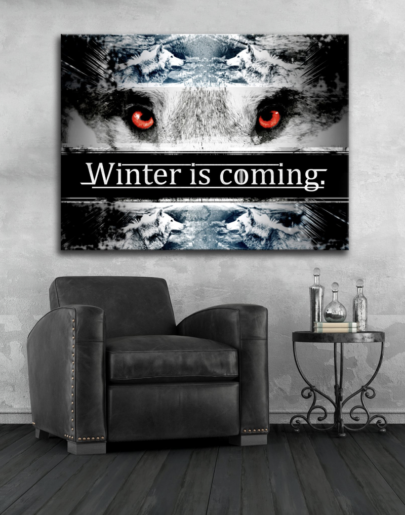 Home Wall Art: Winter Is Coming (Wood Frame Ready To Hang)