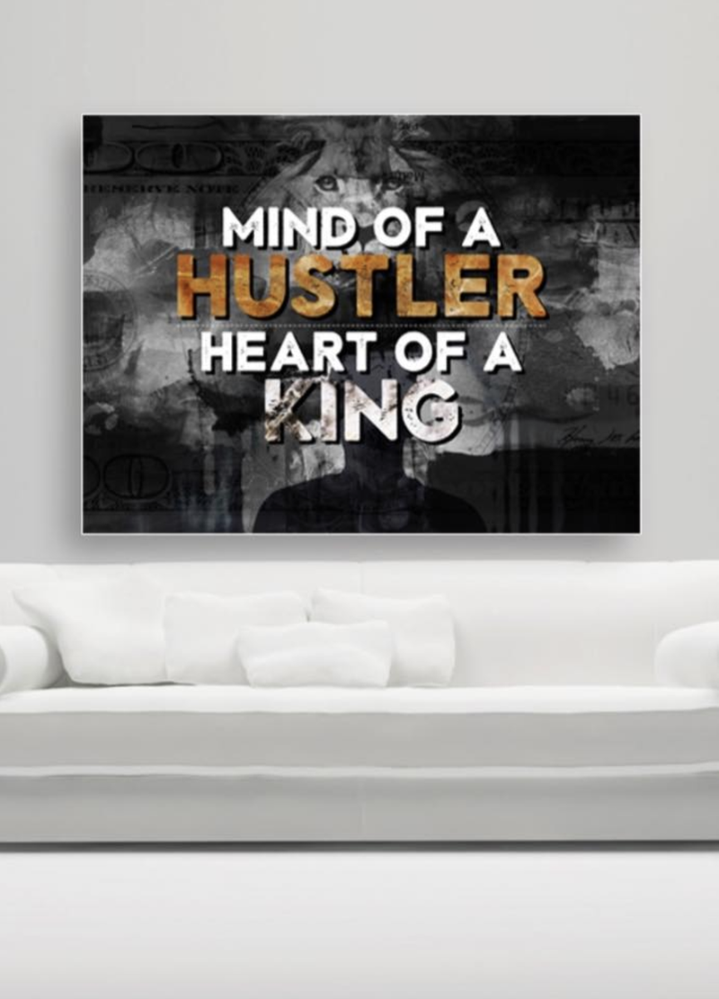 Business Wall Art: Heart Of A King Hustle (Wood Frame Ready To Hang)