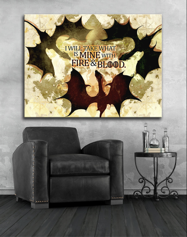 Home Decor Wall Art: Dragons  (Wood Frame Ready To Hang)