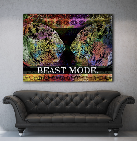 Business Wall Art: Beast Mode Tiger (Wood Frame Ready To Hang)